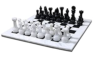 RADICALn 16 Inches Handmade Black and White Marble Full Chess Game Original Marble Chess Set
