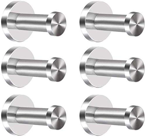 Nesee 6 Pieces Stainless Steel Wall-Mount Robe Hook Coat Hook Towel Wall Hook, Brushed Nickel (Best Way To Remove Stickers From Glass)