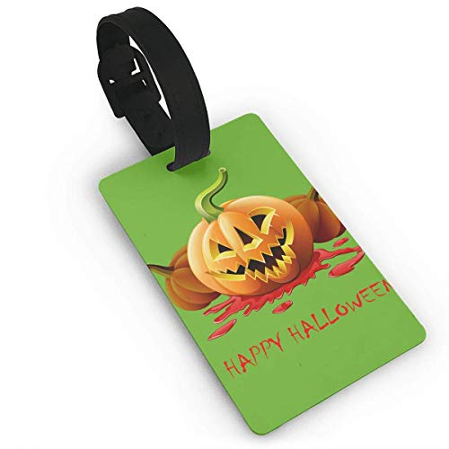 Luggage Tags Holders for Travel Luggage,Luggage Tags for Suitcases, Luggage Tags with Genuine Hand Strap Blood Pumpkin Halloween Travel Suitcase Bag Tag Identify Label White ()