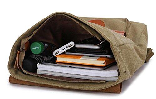 SHFANG Bolso de hombro doble de los hombres Bolsa de la bolsa de estudiante Lienzo con bolsa de cuero Bolsa multifunción Ocio Turismo Compras Tres colores 0.93KG , khaki khaki