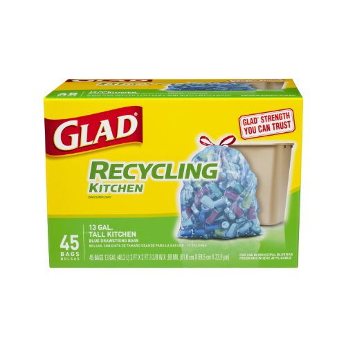 Glad Tall Kitchen Drawstring Recycling Trash Bags, Blue, 45 Count 2ft*2ft, 13 gal