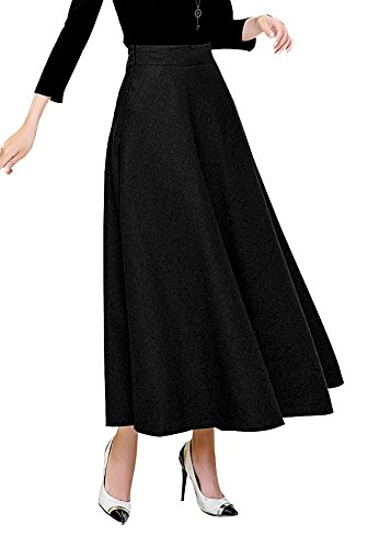 IDEALSANXUN Womens High Elastic Waist Slim Fit Flare A-Line Long Maxi Woolen Skirt (Medium, (Elastic Waist Wool Skirt)
