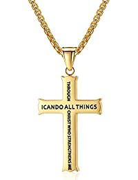 "Bible Verse Philippians 4:13 Stainless Steel Cross Pendant Necklace for Men Women, 20"" -24"" Chain"