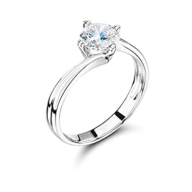 19d61eaf5de1e ABELINI 9K White Gold Certified I1 HI 100% Natural Round Solitaire Diamond  Engagement Rings (Available in 0.10-1.00CT)  Amazon.co.uk  Jewellery