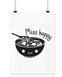 HippoWarehouse Miso Happy Printed Póster pared arte pared diseño, blanco, A4
