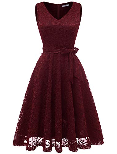 (Modecrush Womens Wedding Party Bridesmaid Short Cocktail Evening Formal Lace Dress 2XL Burgundy)