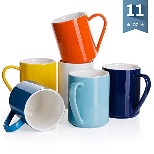 (Sweese 6213 Porcelain Coffee Mug Set - 11 Ounce for Coffee, Tea, Cocoa and Mulled Drinks - Set of 6, Hot Assorted Colors)