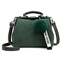 Ananxila Shell Bag Women Leather Handbags Fashion Hairball Messenger Bags Shoulder Bags Green 23x12x20cm