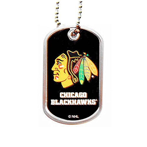 NHL Chicago Blackhawks Sports Team Logo Pet Dog Tag Domed Necklace Charm Chain Gift