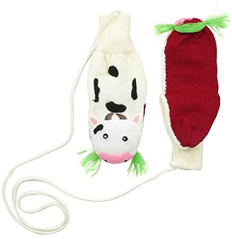Kidorable Little Girls' Cow Mittens, White, Medium - Batting Guanto Set