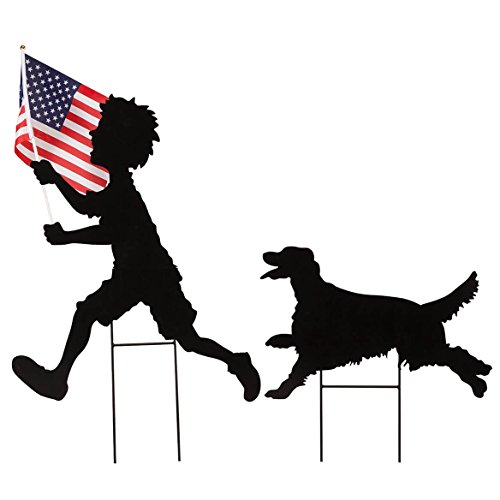 Fox Valley Traders Boy and Dog Silhouette Stake Set by Fox River Creations, Metal Yard Décor with Polyester American Flag, Black