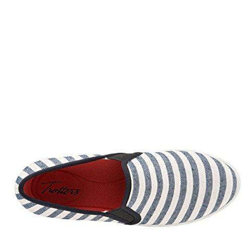 grey Americana Flat Us Striped Black Trotters Perforated cream Black 7 Canvas Sole Women's M 5TEw1q1X