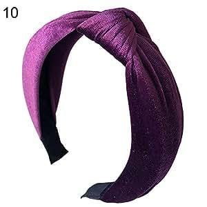 Sanwooden Elegant Hair Hoop Solid Color Fashion Women Velvet Wide Headband Hoop Knotted Hair Band Headwear Headband