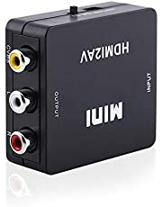 Digital HDMI to RCA Composite Video Audio AV CVBS Adapter Converter 720p/1080pCan Play on TV, VHS VCR, DVD Recorders, etc and Support NTSC and PAL Two TV Format.(Black)