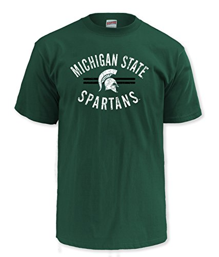 NCAA Michigan State Spartans Men's Pro Weight Short Sleeve College Logo Tee, X-Large,Dark Green