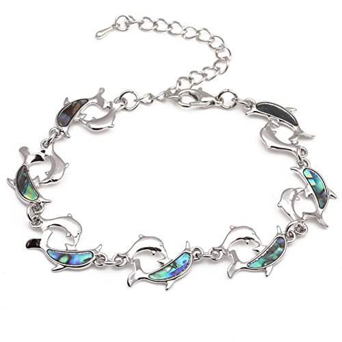 CHUYUN Silver Plated Abalone Shell Cute Animal Dolphin Cuff Bracelet Bangle Women Jewelry