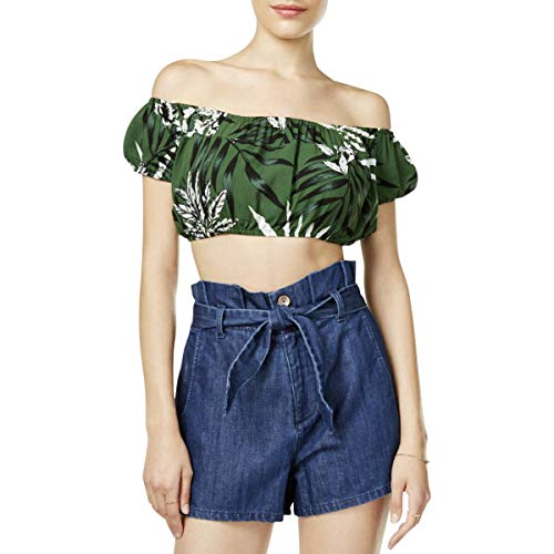 GUESS Womens Printed Striped Crop Top Green L (Guess Evening Shoes)