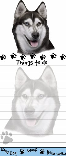 """Siberian Husky Magnetic List Pads"" Uniquely Shaped Sticky Notepad Measures 8.5 by 3.5 Inches"