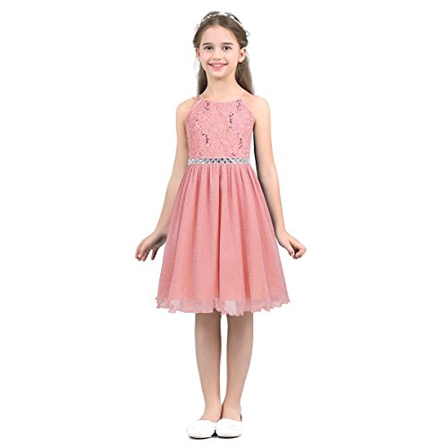 (Agoky Kids Halter Floral Lace Sequins Sleeveless Birthday Party Wedding Bridesmaid Flower Girls Dress Coral Pink 14)