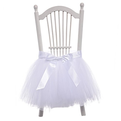 Yeesn Handmade Tulle Tutu Chair Skirt for High Chair Decoration for Party, Wedding  Home Decoration – White