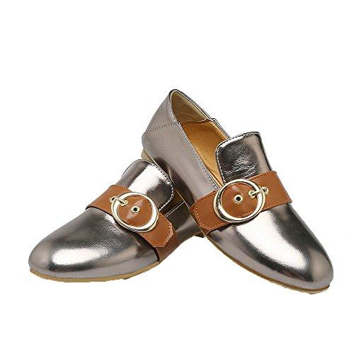 AgooLar Damen Streifen Niedriger Absatz Schließen Zehe Ziehen auf Pumps Schuhe Silber