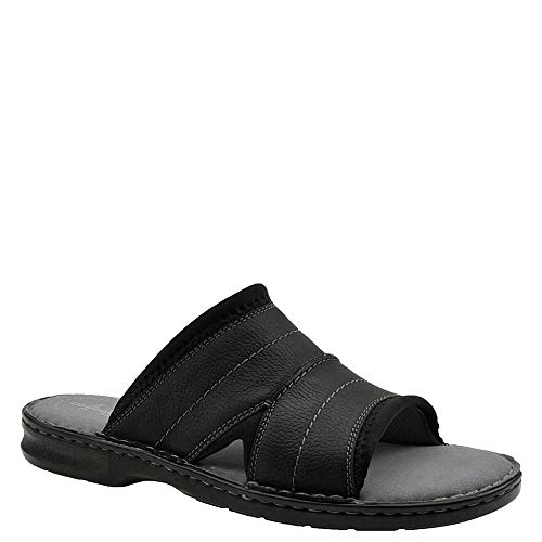 CLARKS Men's Malone Easy Sandal, Black Leather, 120 M US (Mens Slides Clarks)