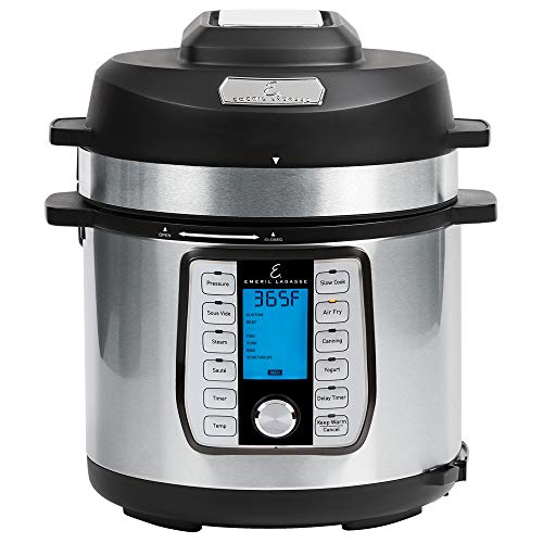 Emeril Lagasse Pressure Cooker, Air Fryer, Steamer & All-in-One Multi-Cooker. Pressure & Crisper Lid, Glass Lid. Emeril Recipe Book. (8 QT With Accessory Pack)