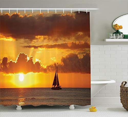 Ambesonne Sailboat Shower Curtain, Last Rays of Sun Over Ocean Sail Boat Freedom Relaxing Mediterranean, Cloth Fabric Bathroom Decor Set with Hooks, 75
