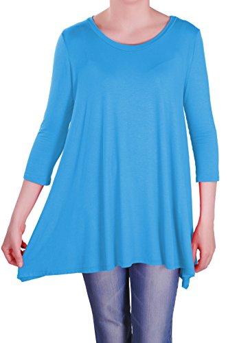 vas Tunique Rond Chemisier 4 Reva Turquoise Dames Hauts T Shirt Femmes Eyecatch 3 Aux Col Manche wRT4ARqX