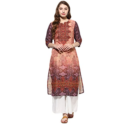 Printed Silk Tunic - Lagi Kurtis Ethnic Women Kurta Kurti Tunic Printed Top Dress Casual Wear New Launch (Red)