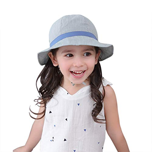 Girl Sun Hat Ponytail - Toddler Kid Baby Cotton Pinstripe Bucket Sun Hat Bowknot Foldable Beach Cap with Chin - Cap Cotton Pinstripe