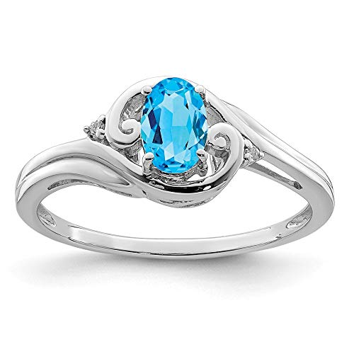 (925 Sterling Silver Diamond Sky Blue Topaz Band Ring Size 7.00 Gemstone Fine Jewelry Gifts For Women For Her)