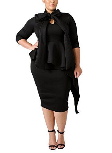 Lalagen Womens Plus Size Long Sleeve Peplum Tie Neck Bodycon Pencil Midi Dress