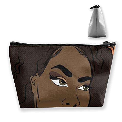 Afro Lady African American Black Women Girls Art Make Up Bag Pouch Portable Gift for Girls Women Large Capacity Cosmetic Train Case for Cosmetics Jewelry Casual Clutch Bag