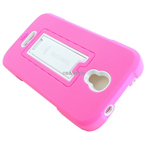 T-Mobile Alcatel OneTouch Pop Astro 5042T Case, Double Layered Silicone Rugged Impact Hybrid Protective Hard Case Cover Kickstand for Alcatel OneTouch Pop Astro for T-Mobile Alcatel OneTouch Pop Astro 5042T + TJS® Tempered Glass Screen Protector & Stylus Pen (Pink and White)