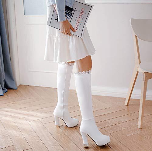 e Sandalette stivali DEDE di alto tacchi rotonda europea stivali testa white americana alti e tacco alti alti impermeabile stivali ZZd0wq