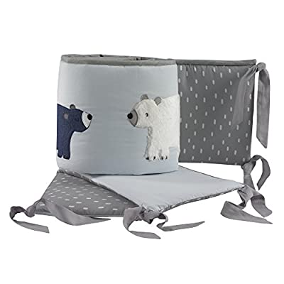Lambs & Ivy Signature Montana Blue/Gray/Brown Bear 4 Piece Crib Bumper