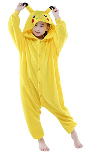 Halloween Unisex Animal Pyjamas Child Cosplay Costume (105, Pikachu)