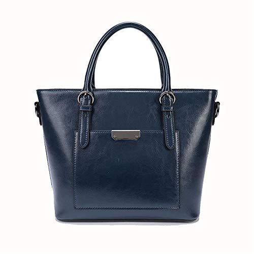 colore Lbymyb Hand Handbag Wild Fashion Wax Leather Oil rosso Blu xwrHRqU0Ww