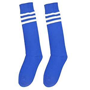 Unisex Athletic Knee High Socks, Bright Color with Triple Stripes (Blue White)