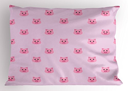 Ambesonne Pig Pillow Sham, Pig Avatar Kid-Friendly Clip Art Style Funny Icon Illustration Design Print, Decorative Standard Queen Size Printed Pillowcase, 30 X 20 Inches, Baby Pink Light Pink for $<!--$15.95-->
