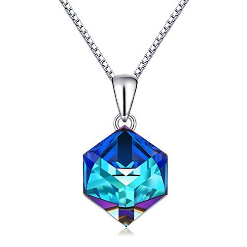 (CAT EYE JEWELS Blue Crystal Pendant S925 Sterling Silver Color Changing Heart Necklace SW004)