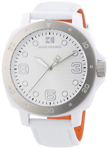 Hugo Boss Orange White Dial White Leather Ladies Watch 1502290