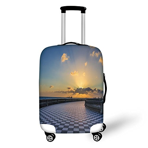 Travel Luggage Cover Suitcase Protector,Italian Decor,View of Leghorn Italy at Sunset Famous Terrazza Mascagni Square Dramatic Sky,Multicolor,for - Stackable Terrazzo