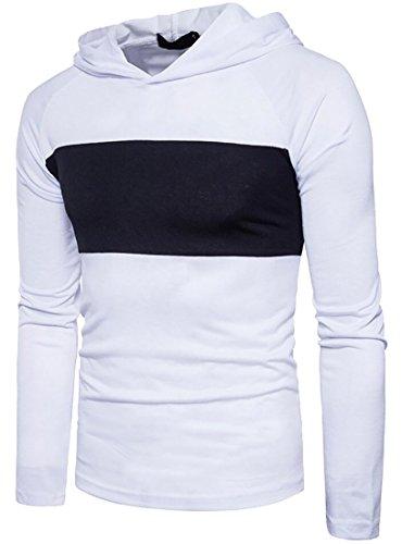 X-Future Men's Hip-Hop Color Block Hoodies Long Sleeve Hooded T-Shirt Tees White US L