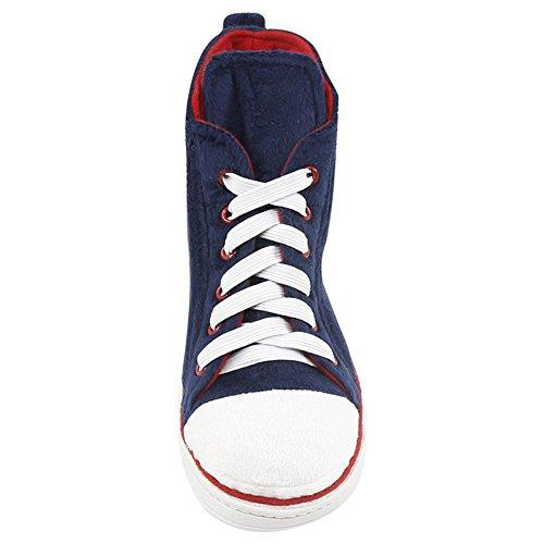 Gohom Donna Confortevole Lusso Indoor / Outdoor Stivali Casa Sneaker Pantofola Blu Scuro