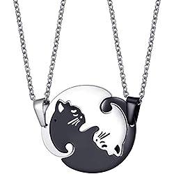 FENICAL Colgante collar lindo gato adorable cadena de acero inoxidable rompecabezas rompecabezas para parejas amantes