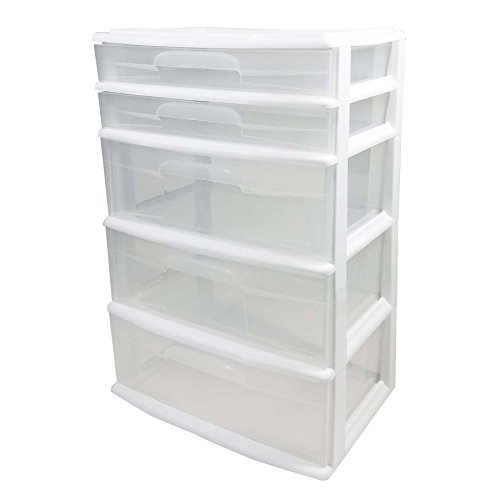 HOMZ Plastic 5 Wide Storage Tower, White Frame, Clear Drawers, Set of 1