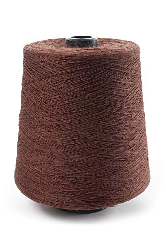 (Linen Yarn Cone - 100% Flax Linen - 1 LBS - Chocolate Brown Color - 3 PLY - Sewing Weaving Crochet Embroidery - 3.000 Yard)