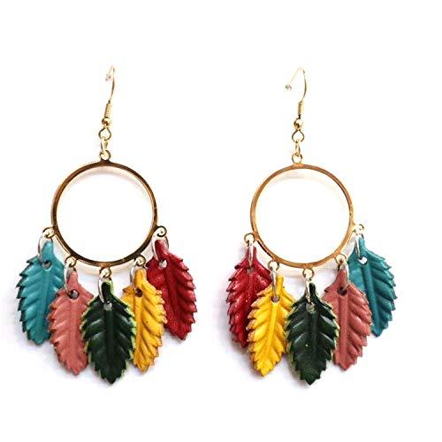 Genuine Leather Mini Leaf Chandelier Earrings for Women Fashion Leaf Tassel Earrings Jewelry ()